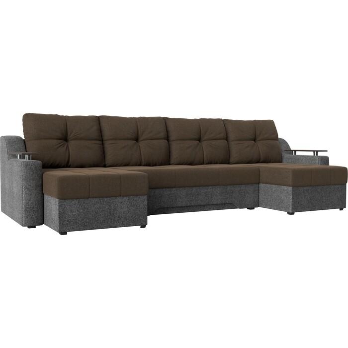 Угловой диван Мебелико Сенатор-П рогожка коричневый/серый