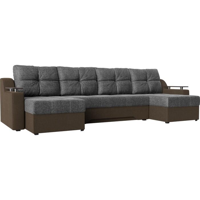 Угловой диван АртМебель Сенатор-П рогожка серый/коричневый