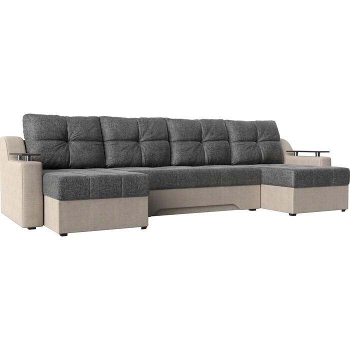 Угловой диван Мебелико Сенатор-П рогожка серый/бежевый