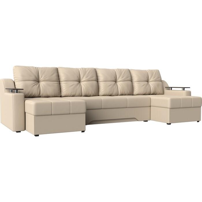 Угловой диван Мебелико Сенатор-П эко-кожа бежевый