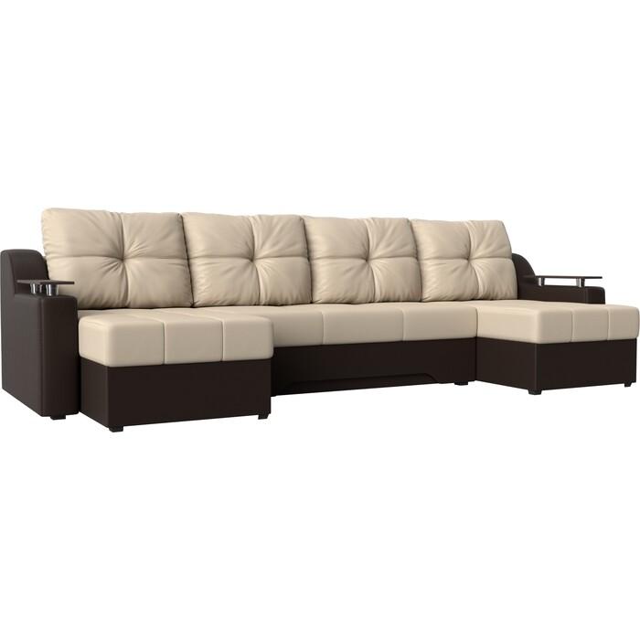Угловой диван Мебелико Сенатор-П эко-кожа бежевый/коричневый