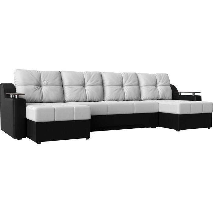 Угловой диван Мебелико Сенатор-П эко-кожа белый/черный