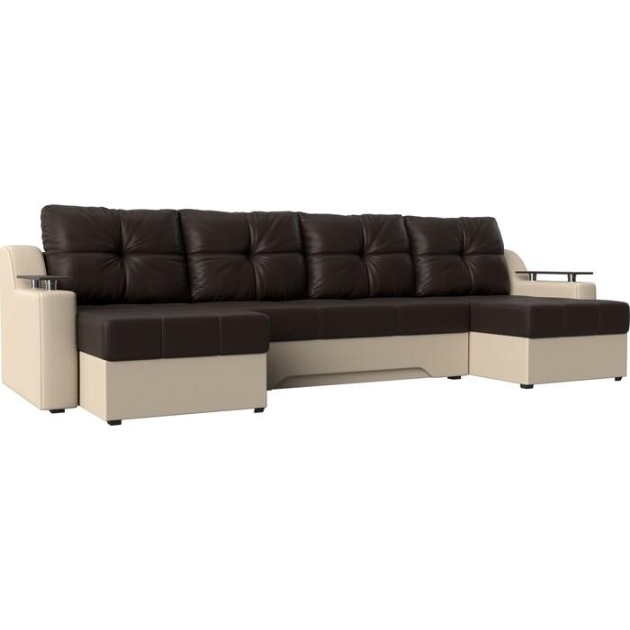 Угловой диван Мебелико Сенатор-П эко-кожа коричневый/бежевый