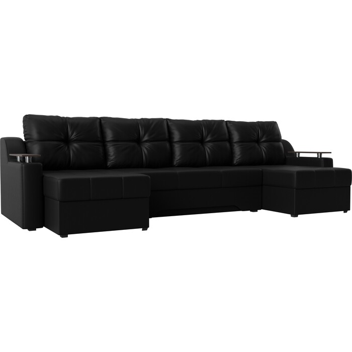 Угловой диван Мебелико Сенатор-П эко-кожа черный