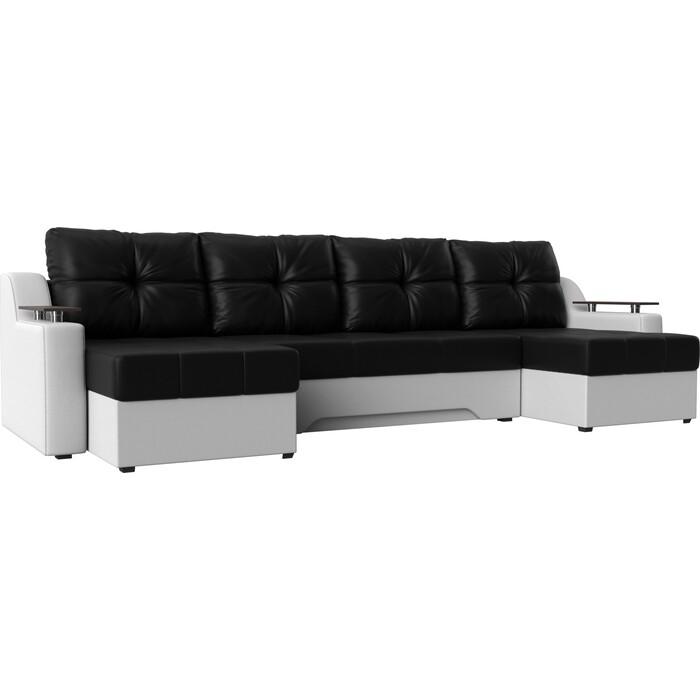 Угловой диван Мебелико Сенатор-П эко-кожа черный/белый