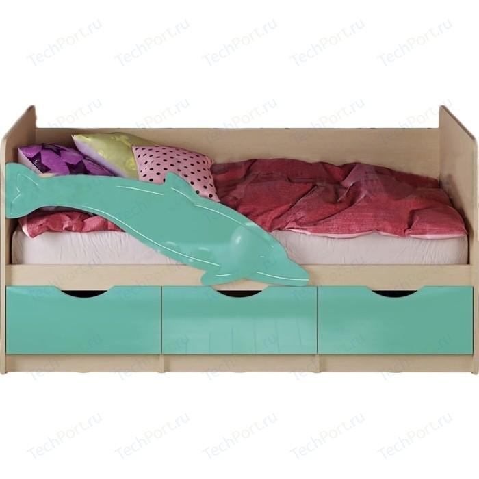 Кровать Миф Дельфин 1 дуб беленый/бирюза 1,6 м