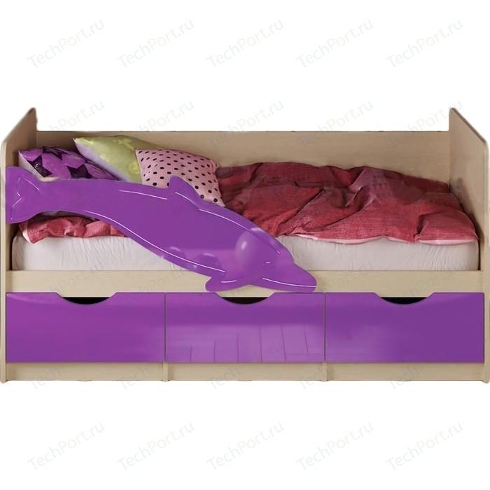 Кровать Миф Дельфин 1 дуб беленый/фиолетовый 1,6 м