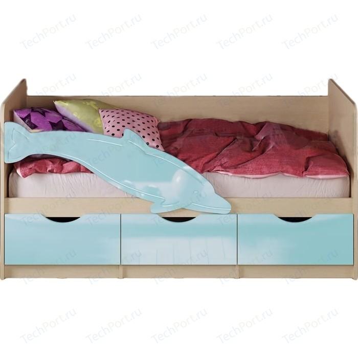 Кровать Миф Дельфин 1 дуб беленый/голубой 1,6 м