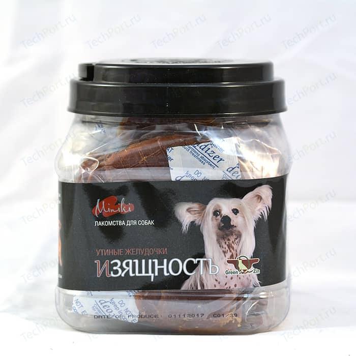Лакомство GreenQZin Miniki Изящность утиные желудочки для собак мелких пород 525г (DkGz525Pc) лакомство greenqzin miniki гибкость мягкие утиные хрящики для собак мелких пород 260г dkci260pc