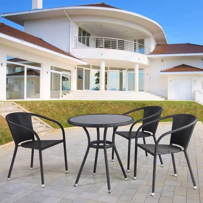 цена на Комплект мебели из искуственного ротанга Afina garden T282ANS/Y137C-W53 brown (3+1)