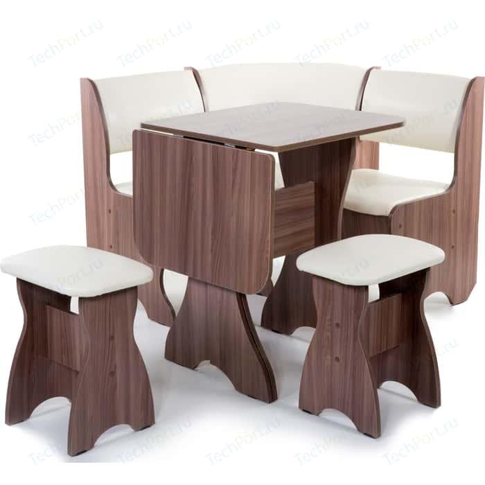 Кухонный уголок Бител Тюльпан мини - однотонный (шимо ясень темный, Борнео крем, шимо ясень темный) набор мебели для кухни бител тюльпан мини однотонный венге борнео крем венге