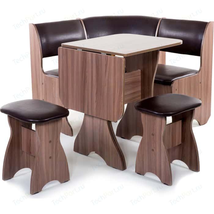 Кухонный уголок Бител Тюльпан мини - однотонный (шимо ясень темный, Борнео умбер, шимо ясень темный) набор мебели для кухни бител тюльпан мини однотонный венге борнео крем венге