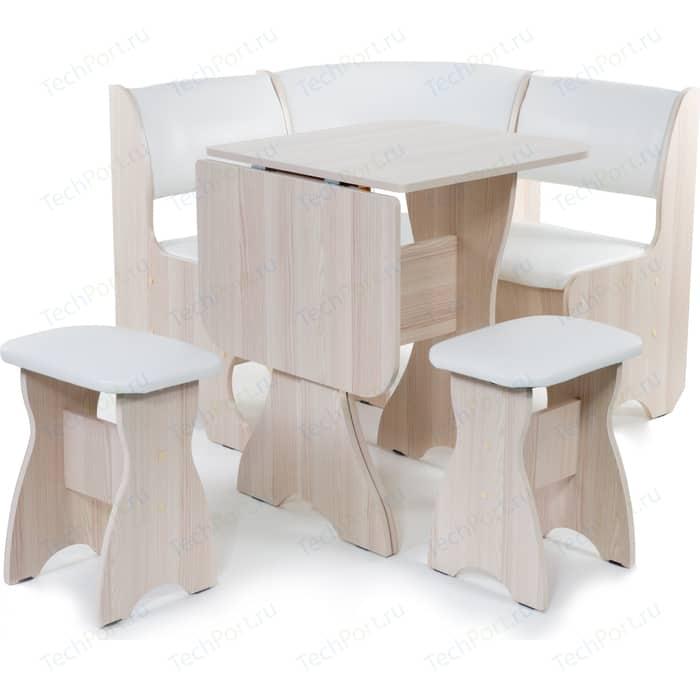 Кухонный уголок Бител Тюльпан мини - однотонный (ясень, Борнео милк, ясень) набор мебели для кухни бител тюльпан мини однотонный венге борнео крем венге