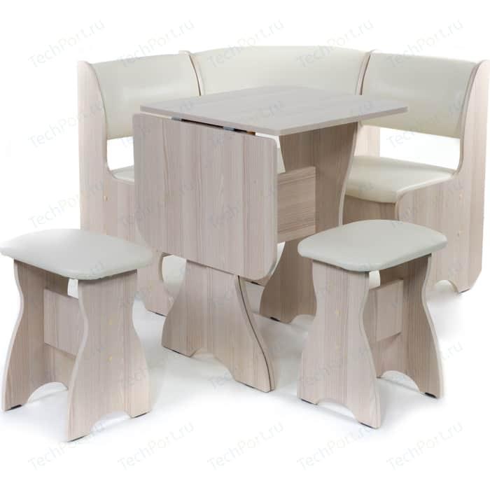 Кухонный уголок Бител Тюльпан мини - однотонный (ясень, Борнео крем, ясень) набор мебели для кухни бител тюльпан мини однотонный венге борнео крем венге