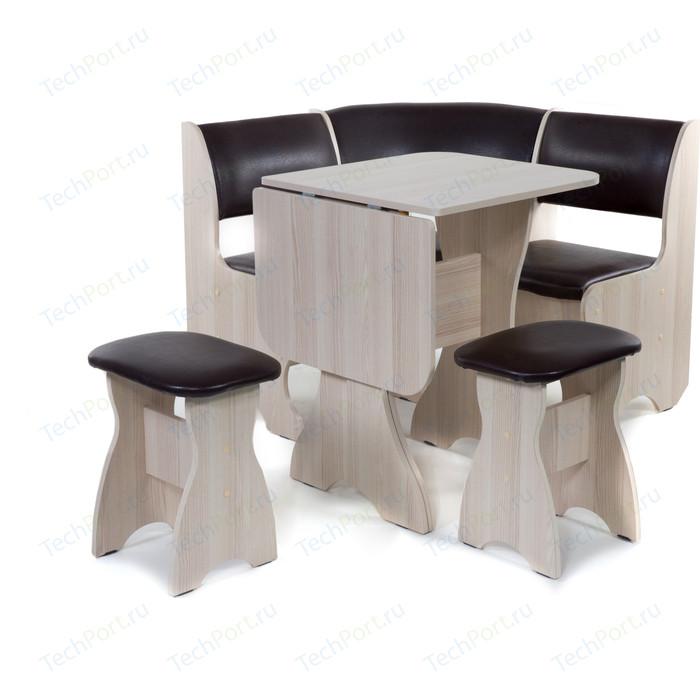 Кухонный уголок Бител Тюльпан мини - однотонный (ясень, Борнео умбер, ясень) набор мебели для кухни бител тюльпан мини однотонный венге борнео крем венге