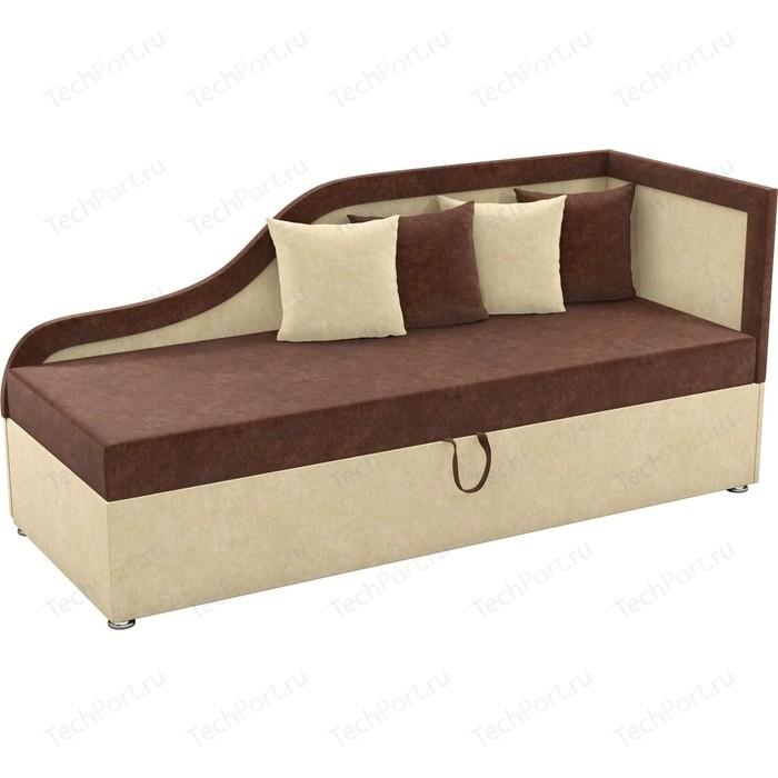 Детский диван Мебелико Дюна микровельвет коричнево-бежевый правый угол диван кушетка мебелико дюна