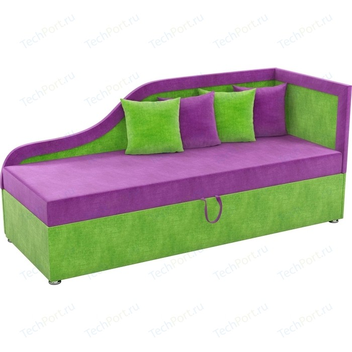Детский диван Мебелико Дюна микровельвет фиолетово-зеленый правый угол детский диван мебелико дюна микровельвет фиолетово черный левый угол