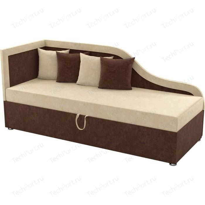 Детский диван Мебелико Дюна микровельвет бежево-коричневый левый угол детский диван мебелико дюна микровельвет фиолетово черный левый угол