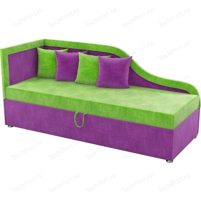 Детский диван Мебелико Дюна микровельвет зелено-фиолетовый левый угол детский диван мебелико дюна микровельвет фиолетово черный левый угол