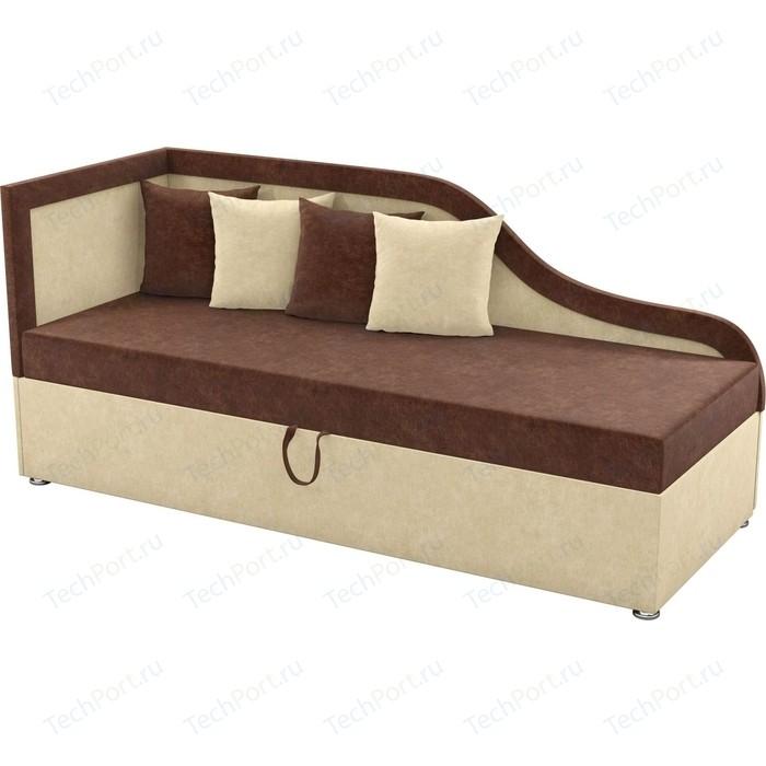Детский диван Мебелико Дюна микровельвет коричнево-бежевый левый угол детский диван мебелико дюна микровельвет фиолетово черный левый угол