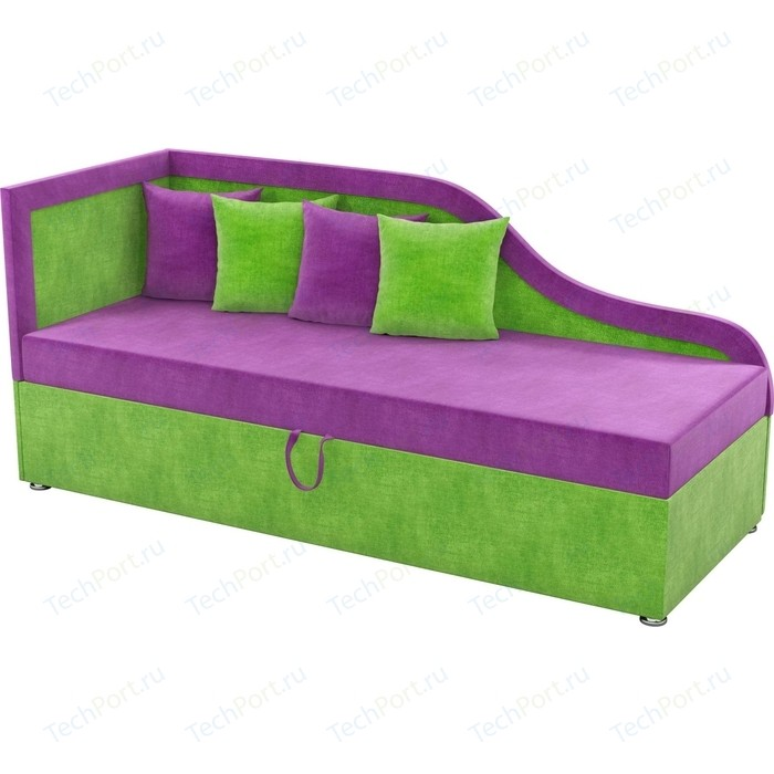 Детский диван Мебелико Дюна микровельвет фиолетово-зеленый левый угол диван кушетка мебелико дюна