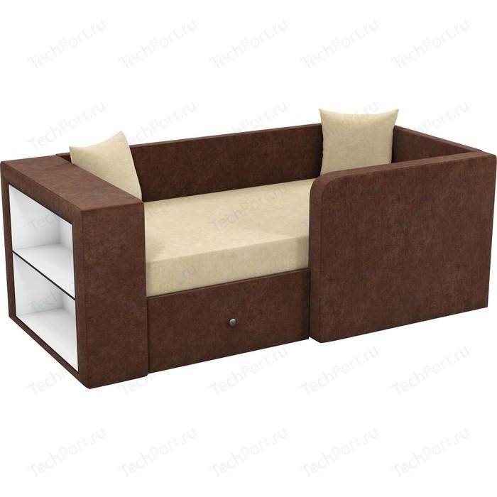 Фото - Детский диван Мебелико Орнелла микровельвет бежево-коричневый правый угол кухонный угловой диван мебелико салвадор микровельвет бежево коричневый правый угол
