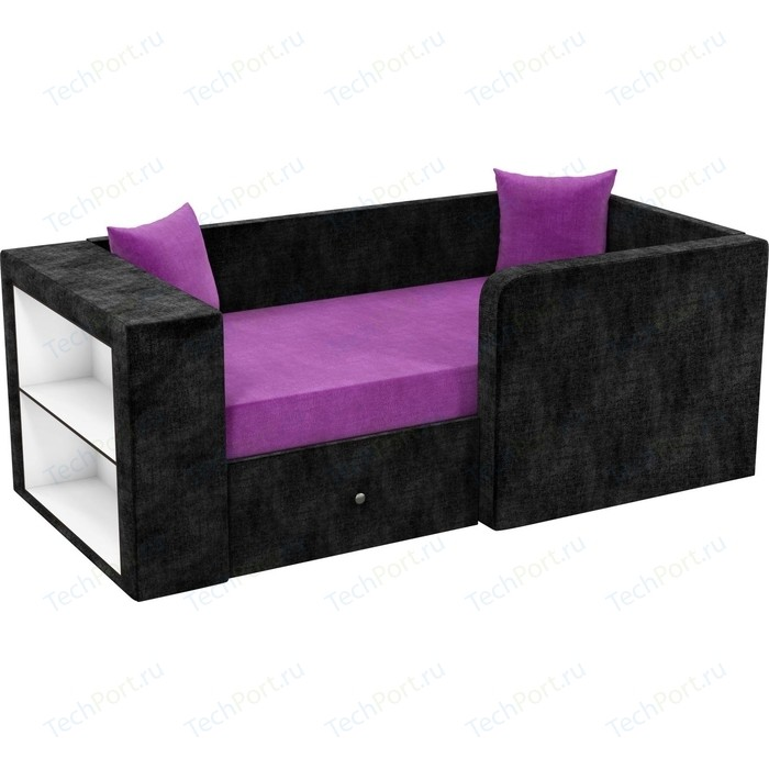 Фото - Детский диван АртМебель Орнелла микровельвет фиолетово-черный правый угол детский диван артмебель орнелла микровельвет черно фиолетовый правый угол