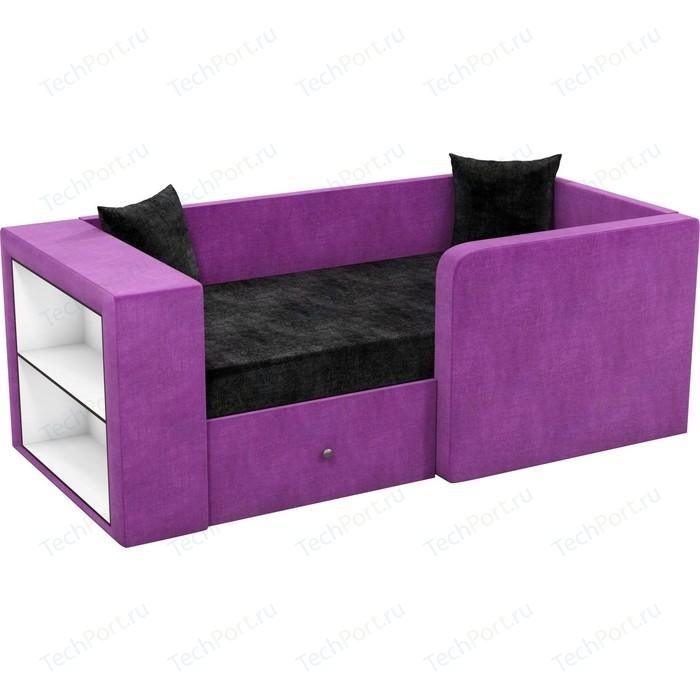 Фото - Детский диван АртМебель Орнелла микровельвет черно-фиолетовый правый угол детский диван артмебель орнелла микровельвет черно фиолетовый правый угол