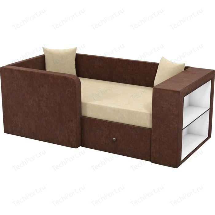 Детский диван Мебелико Орнелла микровельвет бежево-коричневый левый угол