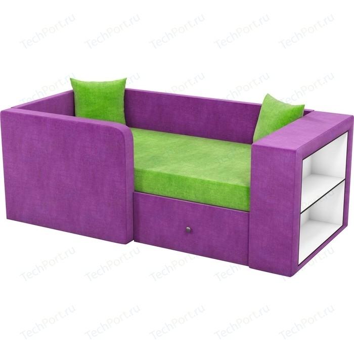 Фото - Детский диван АртМебель Орнелла микровельвет зелено-фиолетовый левый угол детский диван артмебель орнелла микровельвет черно фиолетовый правый угол