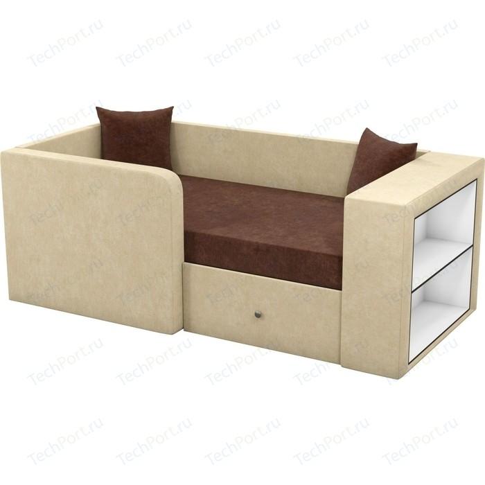 Детский диван Мебелико Орнелла микровельвет коричнево-бежевый левый угол