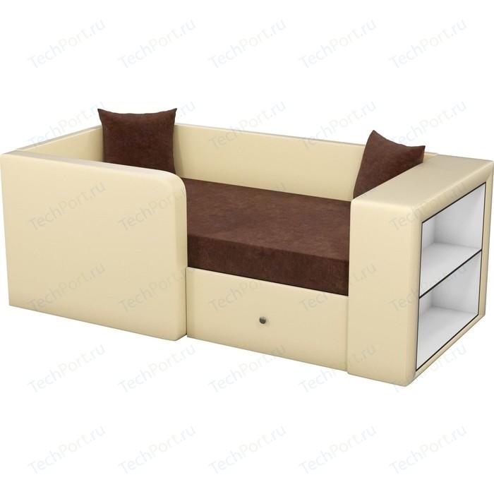 Детский диван Мебелико Орнелла микровельвет коричневый эко-кожа бежевый левый угол