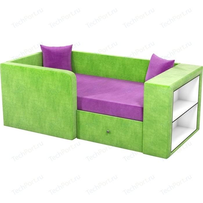 Детский диван Мебелико Орнелла микровельвет фиолетово-зеленый левый угол