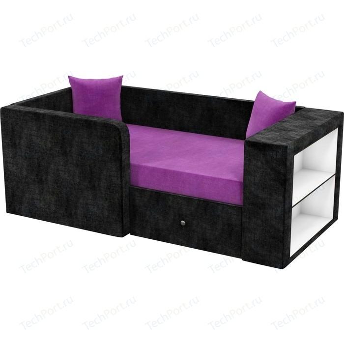 Детский диван Мебелико Орнелла микровельвет фиолетово-черный левый угол