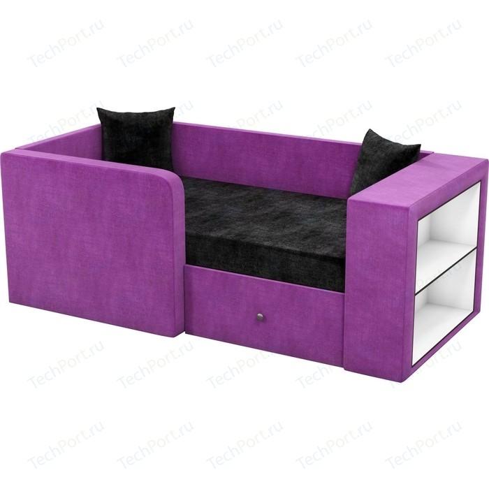 Фото - Детский диван АртМебель Орнелла микровельвет черно-фиолетовый левый угол детский диван артмебель орнелла микровельвет черно фиолетовый правый угол