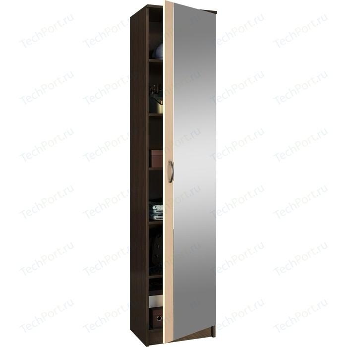 Шкаф однодверный с зеркалом Мастер Ольга (венге-дуб молочный) МСТ-ПДО-Ш1-ВД-З1