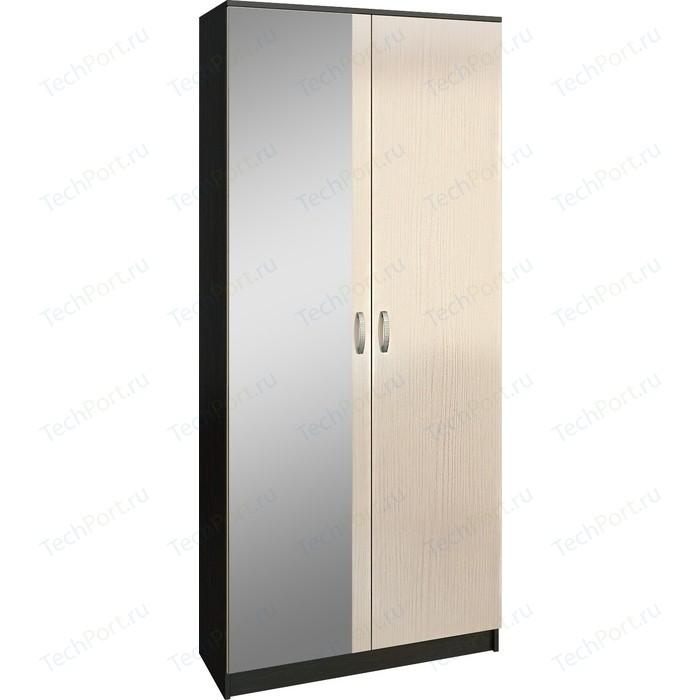 Шкаф двухдверный с зеркалом Мастер Ольга (венге-дуб молочный) МСТ-ПДО-Ш2-ВД-З2