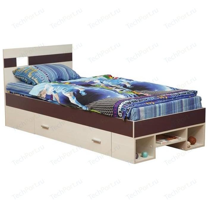Кровать одинарная Олимп 06.296 Next вудлайн кремовый/баклажан 200x90