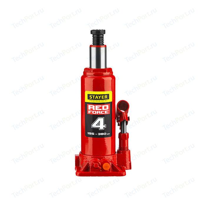 Домкрат гидравлический бутылочный Stayer 4т, в кейсе Red Force (43160-4-K-z01)