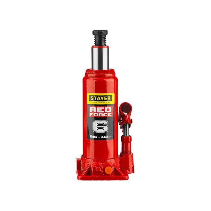 Домкрат гидравлический бутылочный Stayer 6т, Red Force (43160-6-z01)