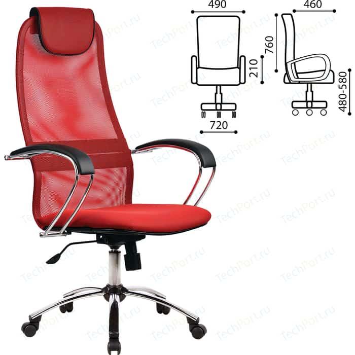 Кресло офисное Метта BK-8CH ткань-сетка, хром, красное 80425