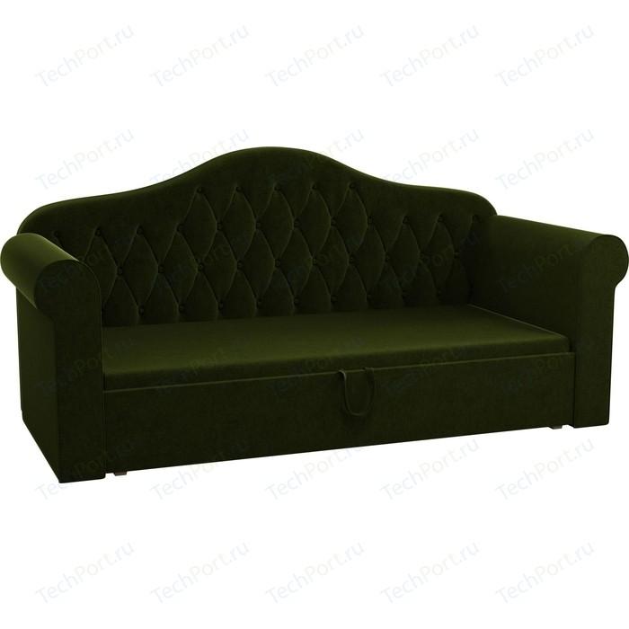 Детская кровать АртМебель Делюкс микровельвет зеленый