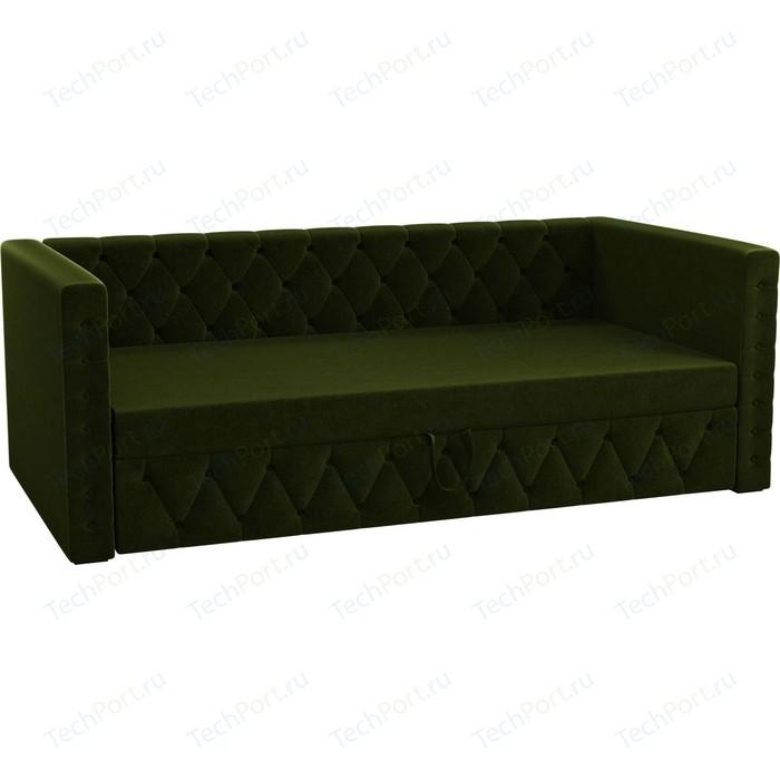 Детская кровать Мебелико Таранто микровельвет зеленый