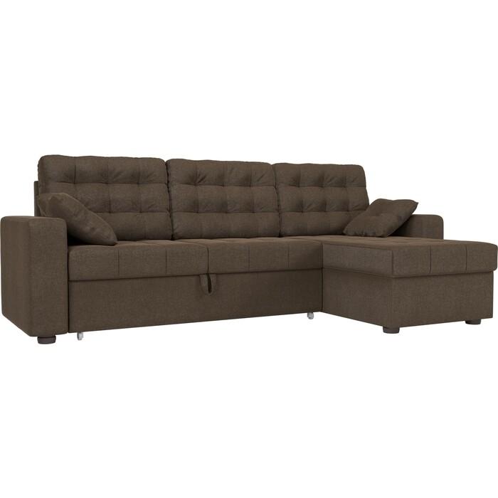 Фото - Угловой диван АртМебель Камелот рогожка коричневый правый угол чехол на угловой диван еврочехол микрофибра правый угол цвет кофейный