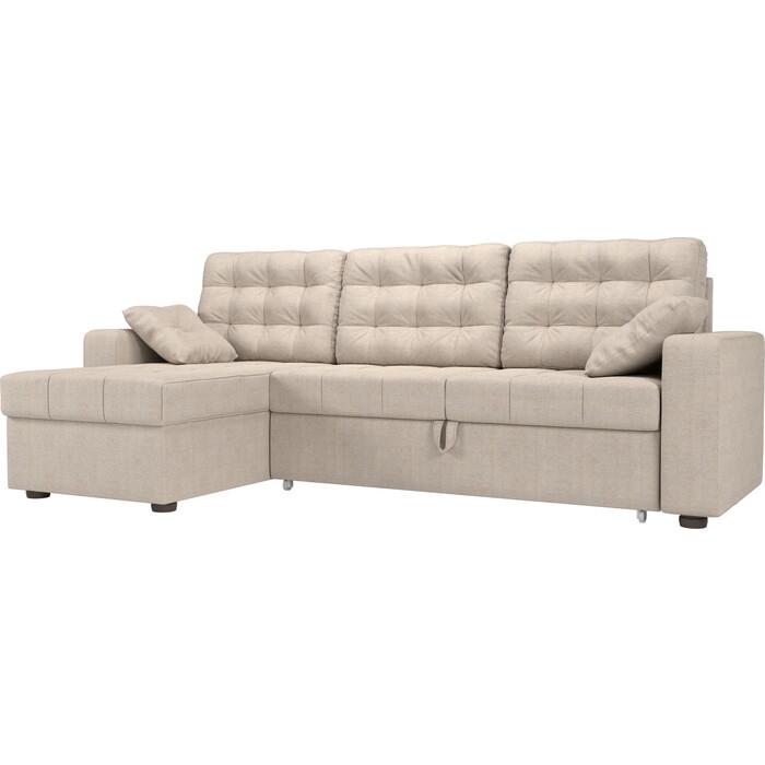 цена Угловой диван Мебелико Камелот рогожка бежевый левый угол онлайн в 2017 году