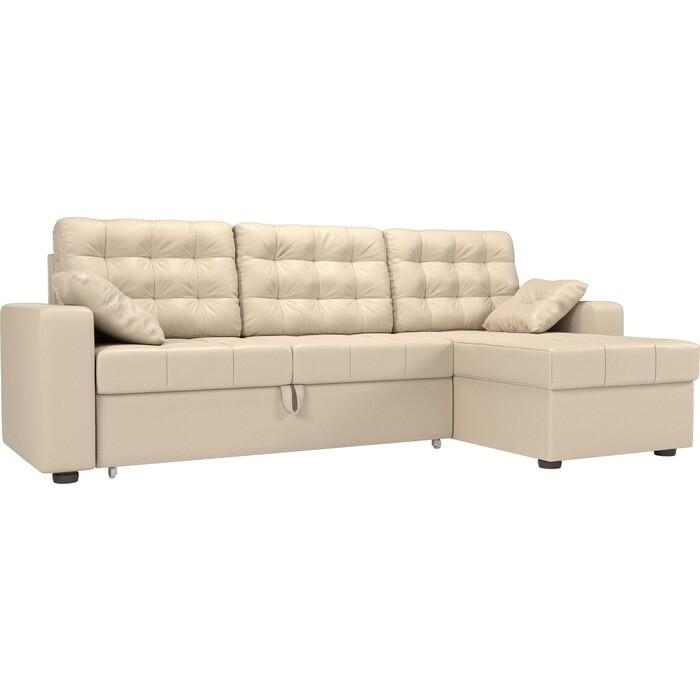 цена Угловой диван Мебелико Камелот эко-кожа бежевый правый угол онлайн в 2017 году