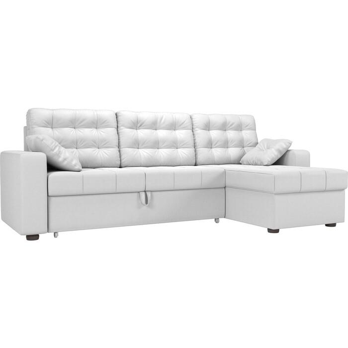 цена Угловой диван Мебелико Камелот эко-кожа белый правый угол онлайн в 2017 году