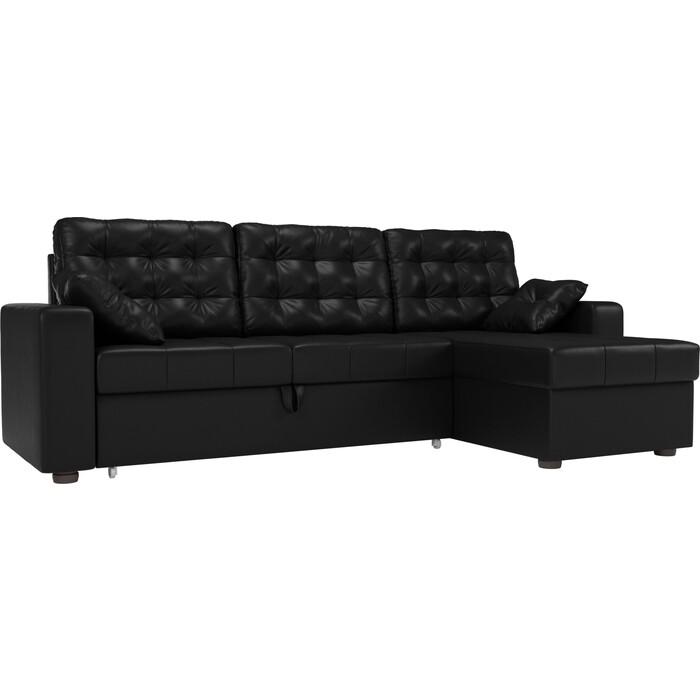 цена Угловой диван Мебелико Камелот эко-кожа черный правый угол онлайн в 2017 году