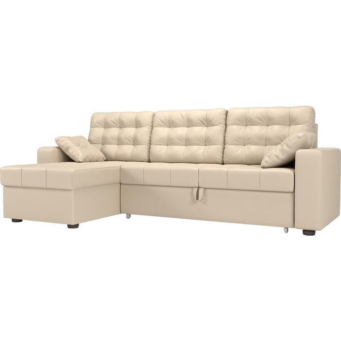 цена Угловой диван Мебелико Камелот эко-кожа бежевый левый угол онлайн в 2017 году