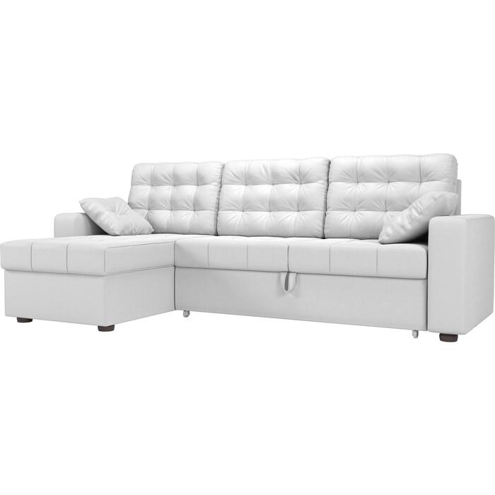 цена Угловой диван Мебелико Камелот эко-кожа белый левый угол онлайн в 2017 году